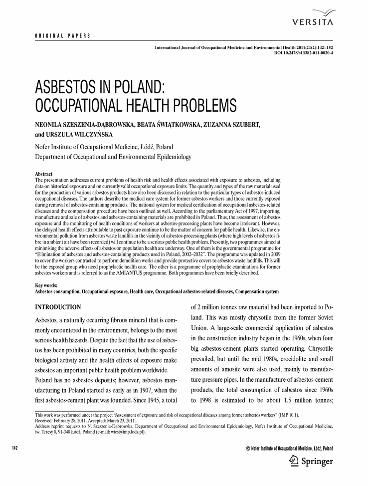 asbestos working group Asbestosis is a consequence of prolonged exposure to large quantities of asbestos, a material once widely used in construction, insulation, and manufacturing.